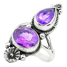 6.26cts solitaire natural purple amethyst 925 silver flower ring size 6.5 t6422