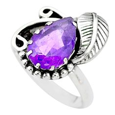 4.49cts solitaire natural purple amethyst 925 silver leaf ring size 7.5 t6382