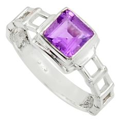 1.21cts solitaire natural purple amethyst 925 silver ring size 7.5 r40605