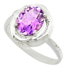 3.05cts solitaire natural purple amethyst 925 silver ring size 7.5 r41906