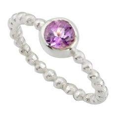 0.99cts solitaire natural purple amethyst 925 silver ring size 6.5 r41964