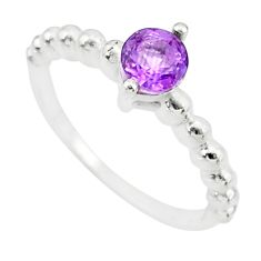 1.08cts solitaire natural purple amethyst 925 silver ring size 8.5 r87191