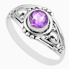 0.74cts solitaire natural purple amethyst 925 silver ring size 5.5 r87297