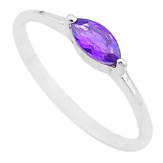 1.27cts solitaire natural purple amethyst 925 silver ring size 8.5 t12250