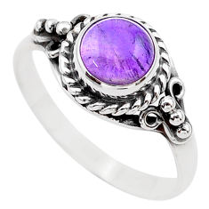 2.60cts solitaire natural purple amethyst 925 silver ring size 8.5 t26101