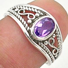 1.42cts solitaire natural purple amethyst 925 silver ring size 5.5 t40144