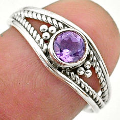 0.75cts solitaire natural purple amethyst 925 silver ring size 7.5 t40161