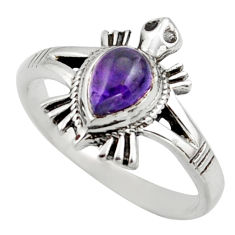 1.57cts solitaire natural purple amethyst 925 silver tortoise ring size 8 r41925