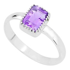 1.42cts solitaire natural purple amethyst 925 sterling silver ring size 10 t7393