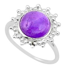 5.08cts solitaire natural purple amethyst 925 sterling silver ring size 6 t1596