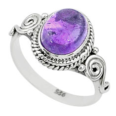 3.12cts solitaire natural purple amethyst 925 sterling silver ring size 6 t5018