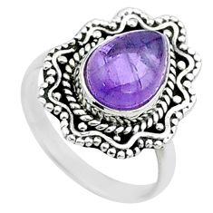 2.61cts solitaire natural purple amethyst 925 sterling silver ring size 6 t50771