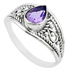 1.42cts solitaire natural purple amethyst 925 sterling silver ring size 6 t51942