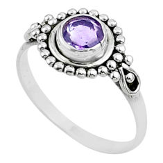 0.75cts solitaire natural purple amethyst 925 sterling silver ring size 6 t51952