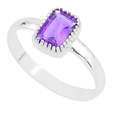 1.39cts solitaire natural purple amethyst 925 sterling silver ring size 6 t7412