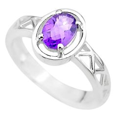 1.44cts solitaire natural purple amethyst 925 sterling silver ring size 6 t8039