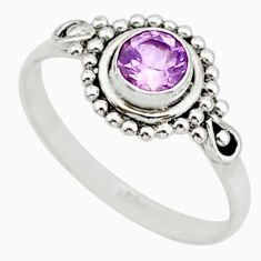 0.90cts solitaire natural purple amethyst 925 sterling silver ring size 7 r87314