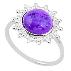 5.10cts solitaire natural purple amethyst 925 sterling silver ring size 7 t1595
