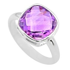 5.22cts moon natural purple amethyst 925 sterling silver ring size 7 t22129
