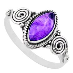 2.42cts solitaire natural purple amethyst 925 sterling silver ring size 7 t26242