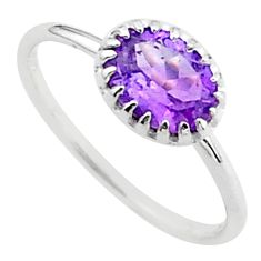 2.13cts solitaire natural purple amethyst 925 sterling silver ring size 7 t40927