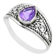 1.74cts solitaire natural purple amethyst 925 sterling silver ring size 7 t51959