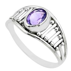 1.47cts solitaire natural purple amethyst 925 sterling silver ring size 7 t52060