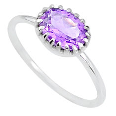 1.96cts solitaire natural purple amethyst 925 sterling silver ring size 7 t8962