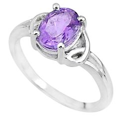 2.31cts solitaire natural purple amethyst 925 sterling silver ring size 7 t9067