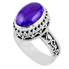 6.76cts solitaire natural purple amethyst 925 sterling silver ring size 8 r51825