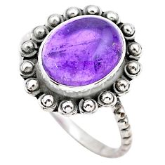 3.93cts solitaire natural purple amethyst 925 sterling silver ring size 8 t25342