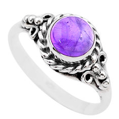2.71cts solitaire natural purple amethyst 925 sterling silver ring size 8 t26102