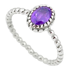 1.49cts solitaire natural purple amethyst 925 sterling silver ring size 8 t34866