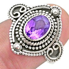 1.91cts solitaire natural purple amethyst 925 sterling silver ring size 8 t46194