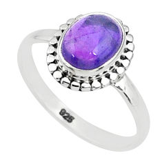 2.96cts solitaire natural purple amethyst 925 sterling silver ring size 8 t5005