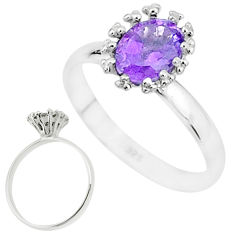 2.15cts solitaire natural purple amethyst 925 sterling silver ring size 8 t7249