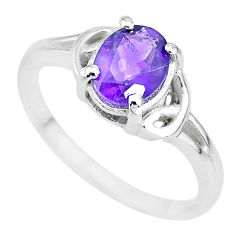 2.11cts solitaire natural purple amethyst 925 sterling silver ring size 8 t7973