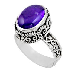 5.99cts solitaire natural purple amethyst 925 sterling silver ring size 9 r51823