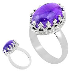6.47cts solitaire natural purple amethyst 925 sterling silver ring size 9 t20343