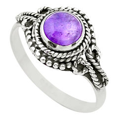 1.21cts solitaire natural purple amethyst 925 sterling silver ring size 9 t26163
