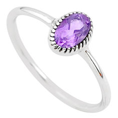 1.04cts solitaire natural purple amethyst 925 sterling silver ring size 9 t30468