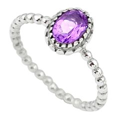 1.50cts solitaire natural purple amethyst 925 sterling silver ring size 9 t34874