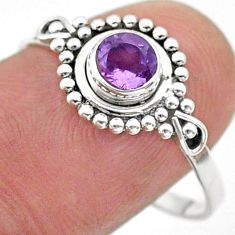1.00cts solitaire natural purple amethyst 925 sterling silver ring size 9 t40025