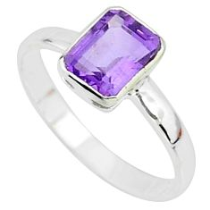 2.27cts solitaire natural purple amethyst 925 sterling silver ring size 9 t7265