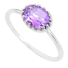 1.93cts solitaire natural purple amethyst 925 sterling silver ring size 9 t8978