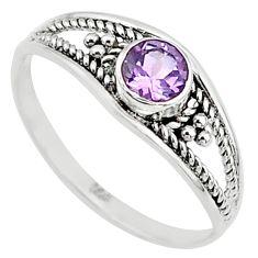 0.81cts natural cut amethyst silver graduation handmade ring size 9 t9302