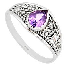 1.49cts natural cut amethyst silver graduation handmade ring size 9 t9593