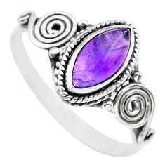 1.98cts solitaire natural purple amethyst marquise silver ring size 9.5 t26244