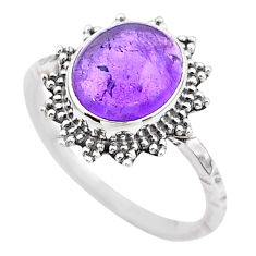 4.24cts solitaire natural purple amethyst oval 925 silver ring size 8 t25303