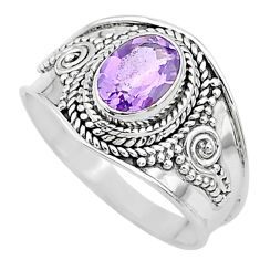 1.99cts solitaire natural purple amethyst oval 925 silver ring size 8.5 t10109